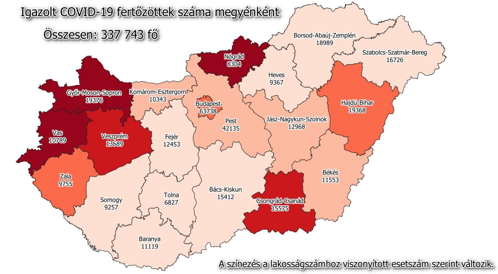 Koronavírus - Megyei adatok, számok pénteken