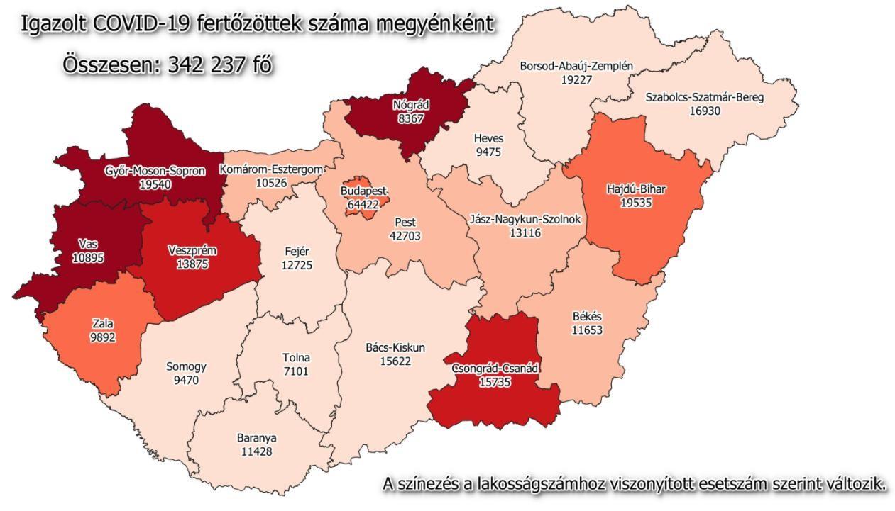 Koronavírus - A vasárnapi hazai adatok és a megyék számai
