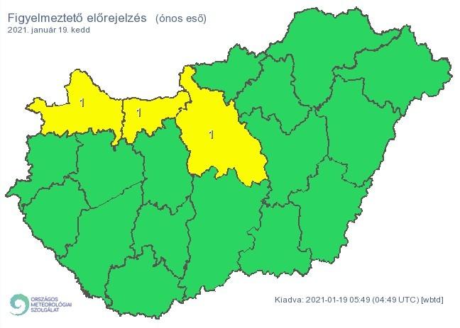   Figyelmeztető időjárás-előrejelzés keddre - Ónos eső - Forrás:met.hu  
