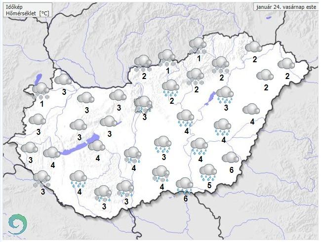 Időjárás-előrejelzés vasárnap estére