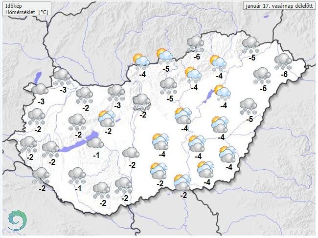 Időjárás-előrejelzés vasárnapdélelőttre