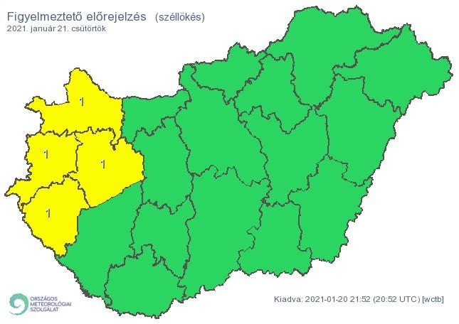   Figyelmeztető időjárás-előrejelzés csütörtökre - Viharos szél - Forrás:met.hu  