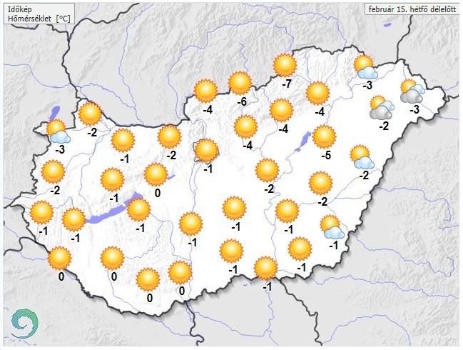 Időjárás-előrejelzés hétfő délelőttre
