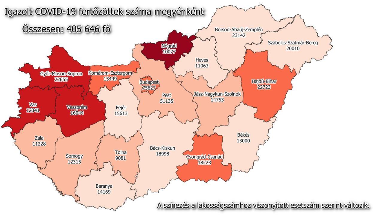 Megjelentek a hétfői járványadatok és a megyei lista