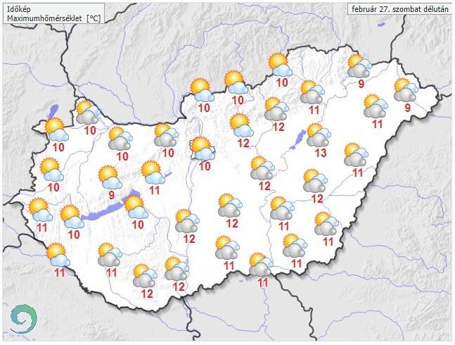Időjárás-előrejelzés szombatdélutánra