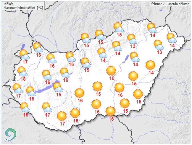 Időjárás-előrejelzés szerda délutánra