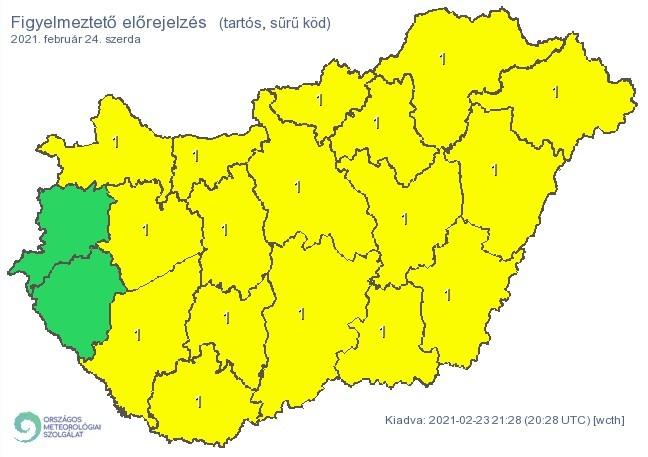   Figyelmeztető időjárás-előrejelzés szerdára - Tartós, sűrű köd - Forrás:met.hu  