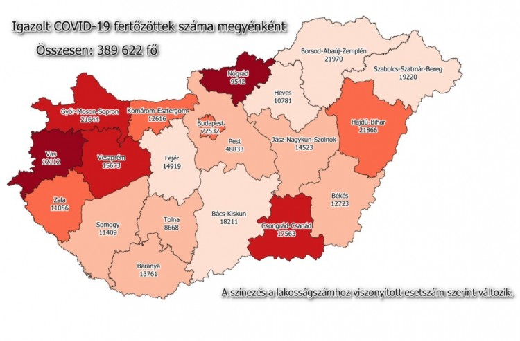 Igazolt COVID-19 fertőzöttek száma megyénként