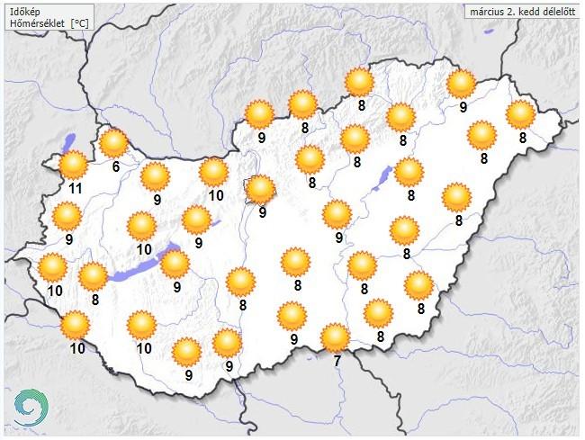 Időjárás-előrejelzés kedd dél