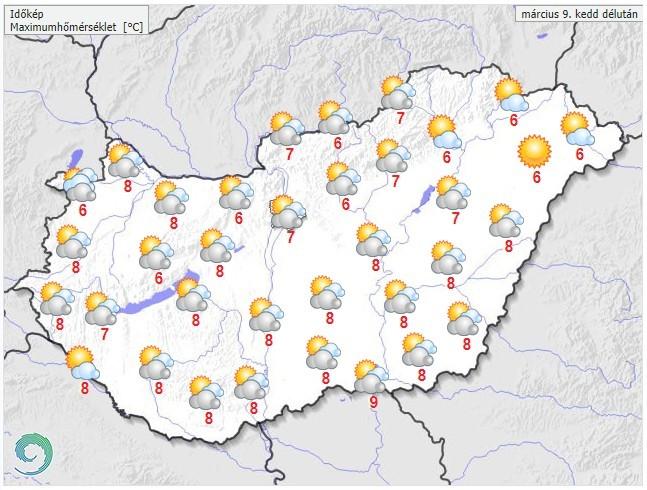 Időjárás-előrejelzés kedd délutánra