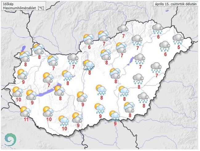   Időjárás-előrejelzés csütörtök délutána     