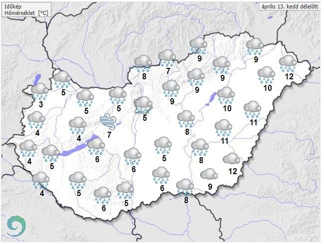   Időjárás-előrejelzés kedd délelőttre - Forrás:met.hu  