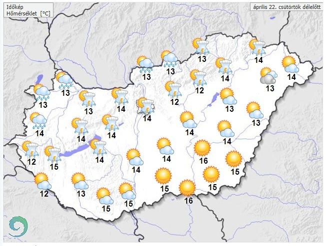 Időjárás-előrejelzés csütörtökdélelőttre