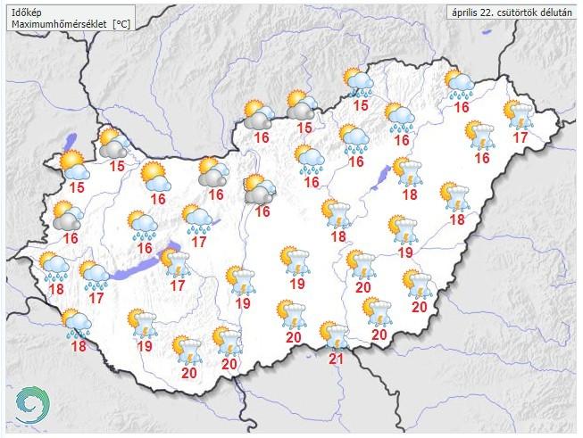 Időjárás-előrejelzés csütörtökdélutánra