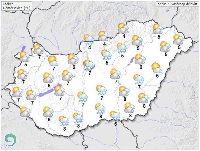 Időjárás-előrejelzés húsvétvasárnap délelőttre