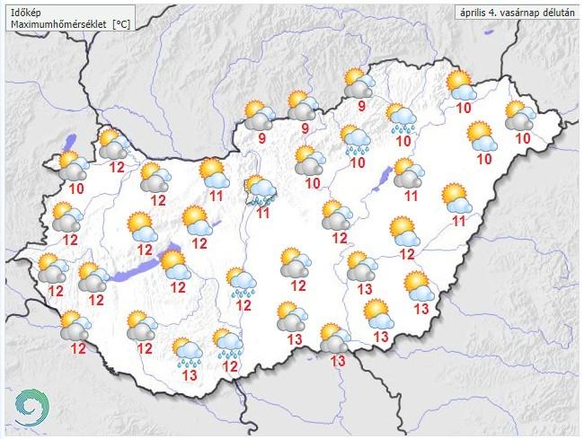 Időjárás-előrejelzés húsvétvasárnap délutánra