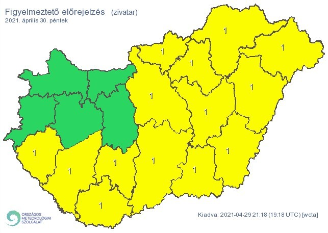 Időjárás-előrejelzés péntekre - Zivatar