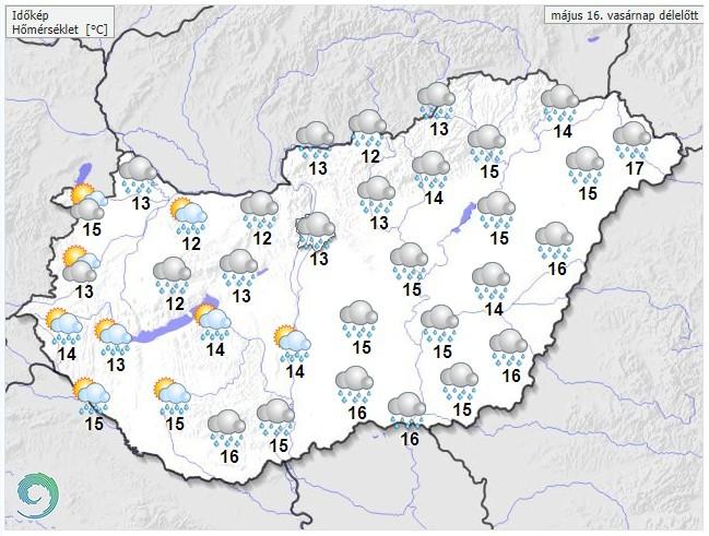 Időjárás-előrejelzés vasárnap délelőttre