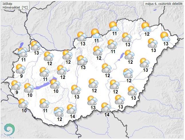 Időjárás-előrejelzés csütörtök