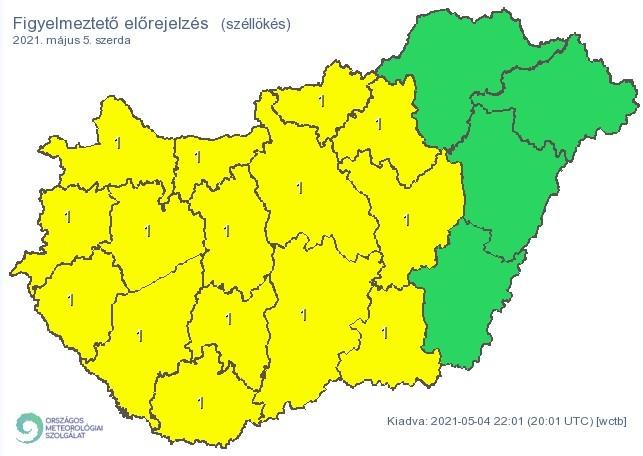 Figyelmeztető időjárás-előrejelzés szerdára - Viharos szél