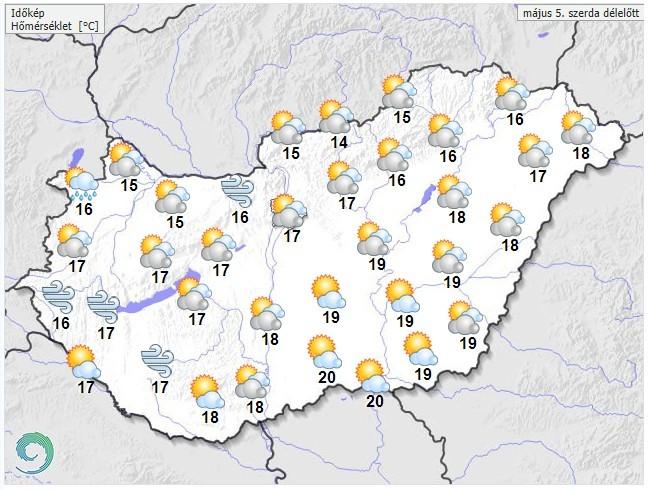 Időjárás-előrejelzés szerda délelőttre
