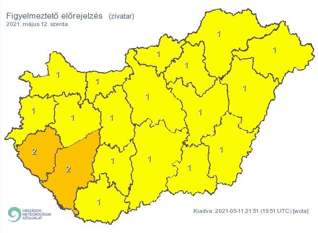 Figyelmeztető időjárás-előrejelzés szerdára - Zivatarveszély