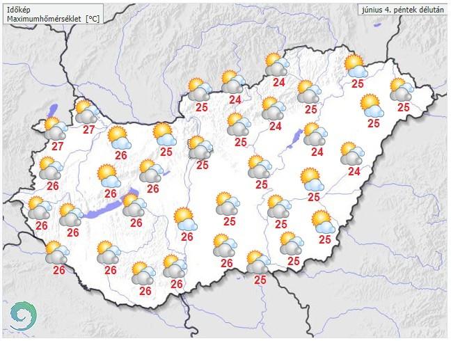 Időjárás-előrejelzés péntek délutánra