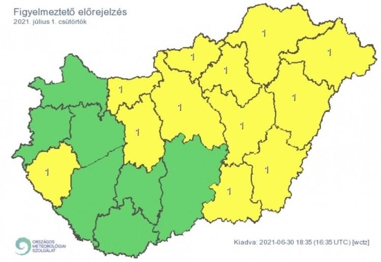   Figyelmeztető időjárás-előrejelzés csütörtökre - Zivatarok  