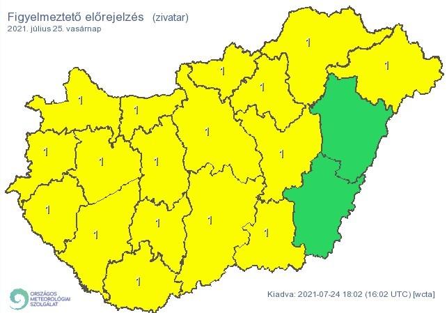 Figyelmeztető időjárás-előrejelzés vasárnapra - Zivatarok