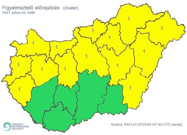 Figyelmeztetős időjárás-előrejelzés hétfőre - Zivatarok