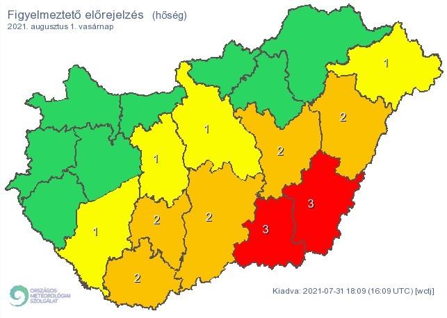 Figyelmeztető időjárás-előrejelzés vasárnapra - Hőség