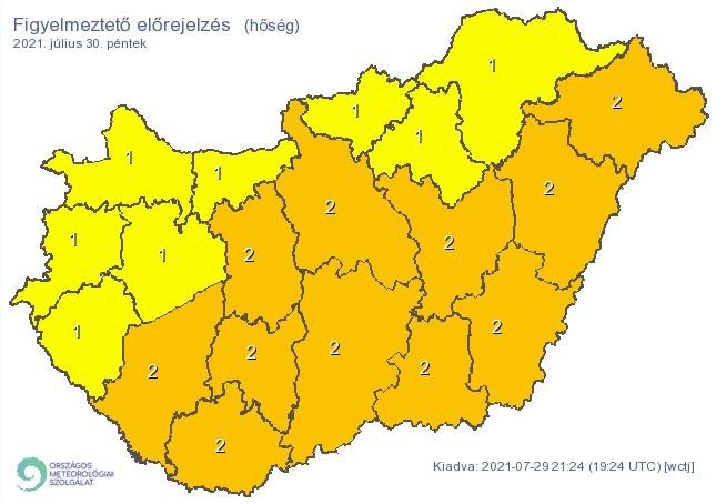 Figyelmeztető időjárás-előrejelzés péntekre - Hőség