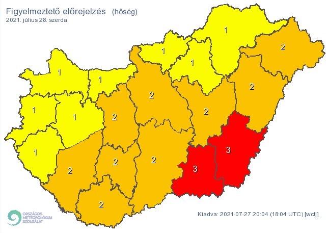 Figyelmeztető időjárás-előrejelzés szerdára - Hőség