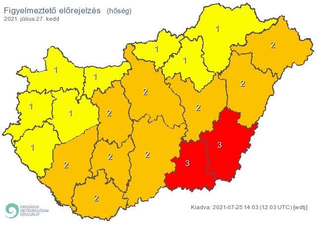 Figyelmeztető időjárás-előrejelzés keddre - Hőség