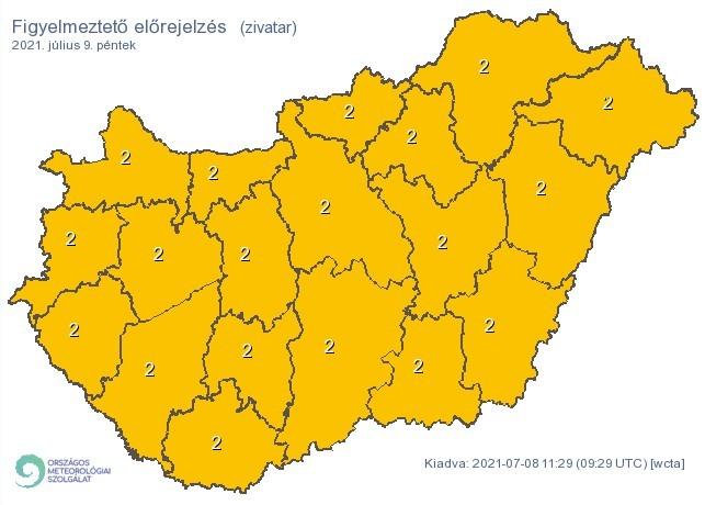 Időjárás-előrejelzés péntekre - Zivatarok
