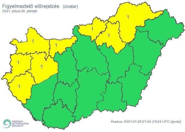 Figyelmeztető időjárás-előrejelzés péntekre - Zivatarveszély