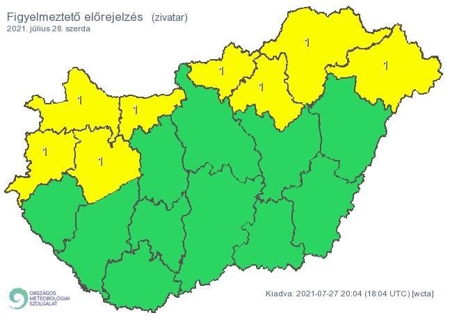 Figyelmeztető időjárás-előrejelzés szerdára - Zivatar
