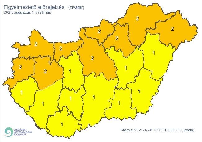 Figyelmeztető időjárás-előrejelzés vasárnapra - Zivatar
