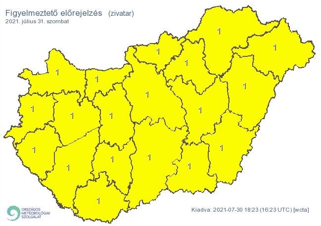 Figyelmeztető időjárás-előrejelzés szombatra - Zivatar
