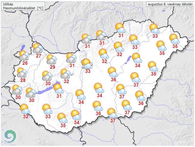 Időjárás-előrejelzés vasárnapra - A hőség és a zivatar miatt is figyelmeztetést adott ki az OMSZ