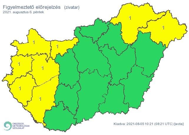   Figyelmeztető időjárás-előrejelzés péntekre - Forrás:met.hu  
