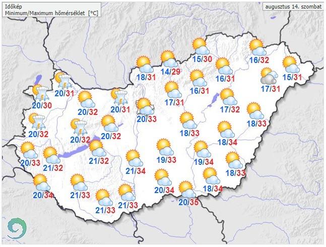 Időjárás-előrejelzés szombatra