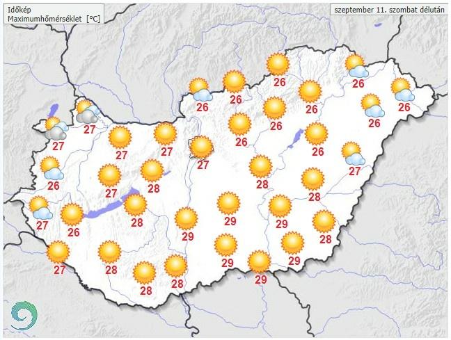 Időjárás-előrejelzés szombat délutánra