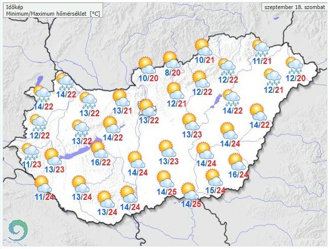 Időjárás-előrelezés szombatra