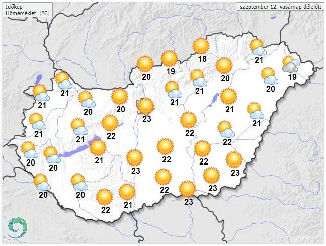 Időjárás-előrejelzésvasárnap délelőttre