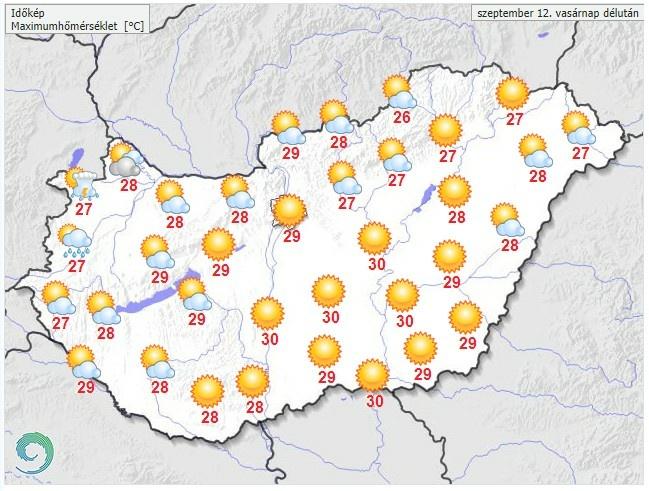 Időjárás-előrejelzésvasárnap délutánra