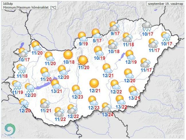 Időjárás-előrelezés vasárnapra