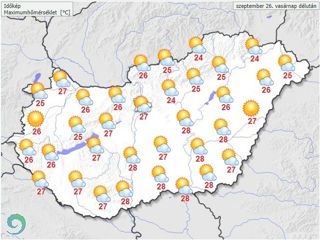 Időjárás-előrejelzés vasárnap délutánra