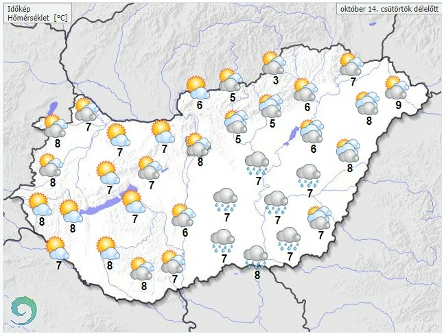 Időjárás-előrejelzés csütörtökre - Friss meteorológiai előrejelzés csütörtökre