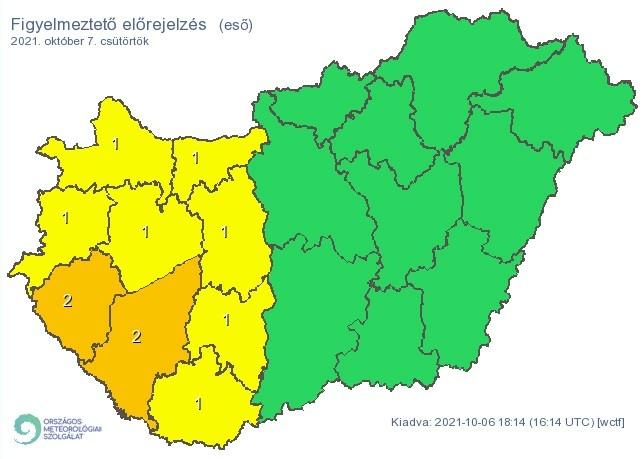   Figyelmeztető időjárás-előrejelzés csütörtökre - Forrás:met.hu  